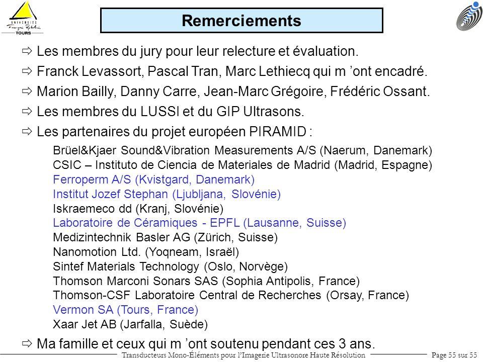 Remerciements  Les membres du jury pour leur relecture et évaluation.