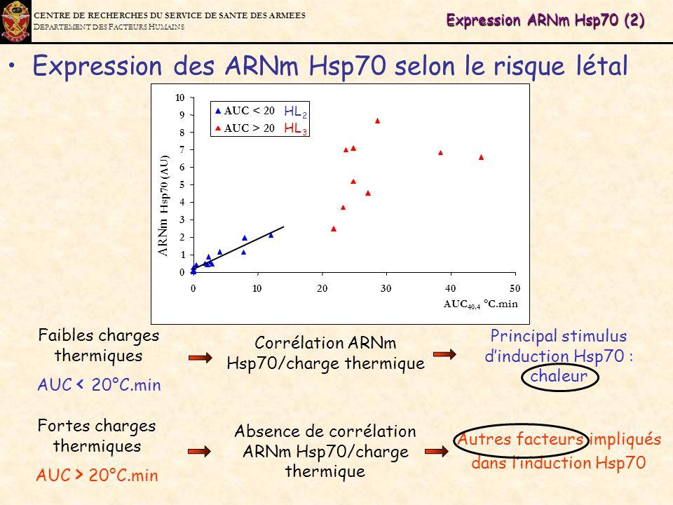 Expression des ARNm Hsp70 selon le risque létal