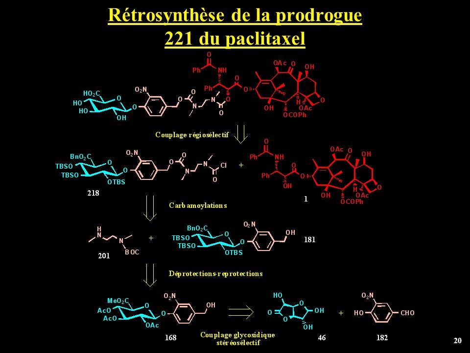 Rétrosynthèse de la prodrogue 221 du paclitaxel