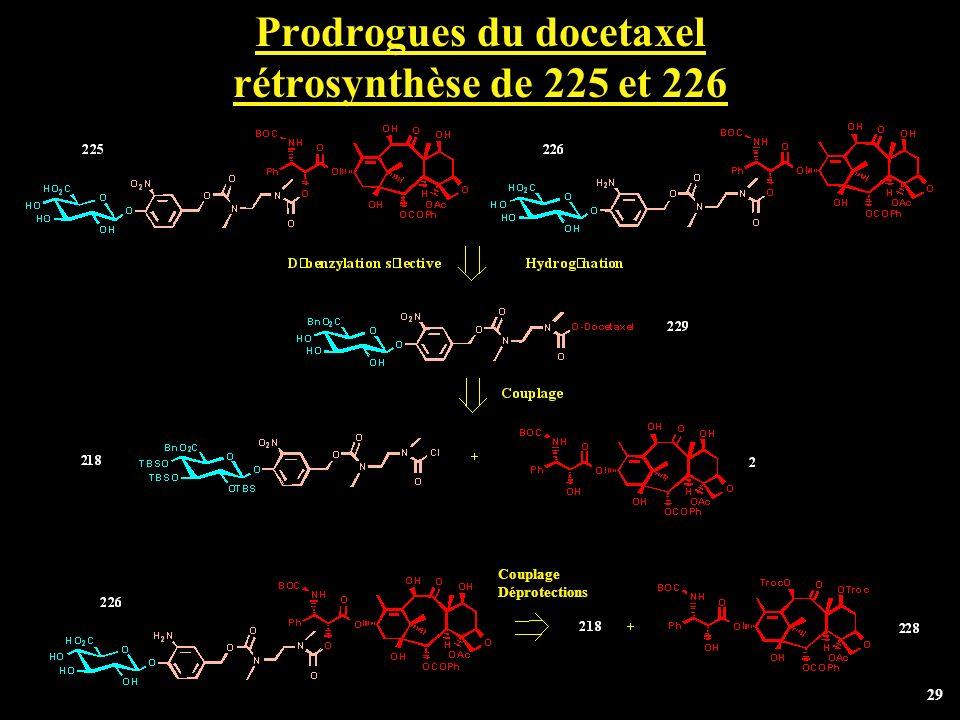 Prodrogues du docetaxel rétrosynthèse de 225 et 226