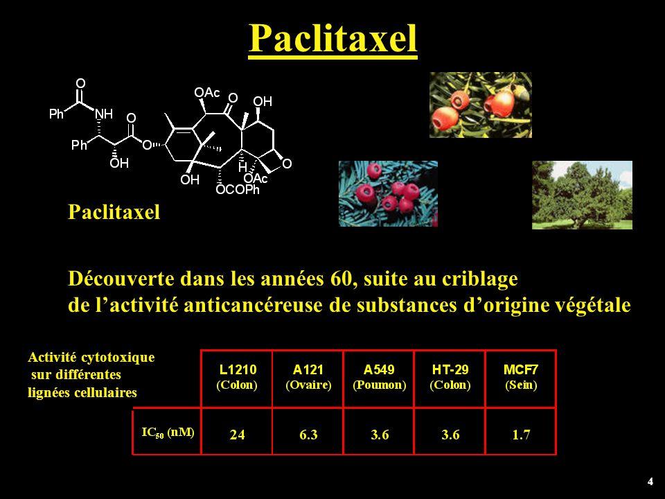 Paclitaxel Paclitaxel Découverte dans les années 60, suite au criblage
