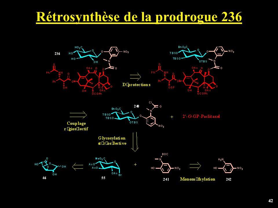 Rétrosynthèse de la prodrogue 236