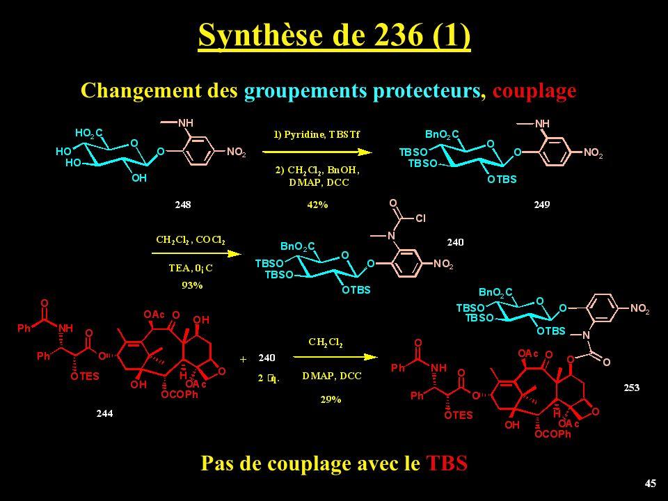 Synthèse de 236 (1) Changement des groupements protecteurs, couplage