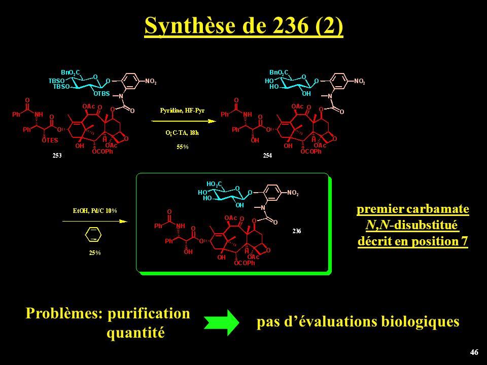 Synthèse de 236 (2) Problèmes: purification quantité