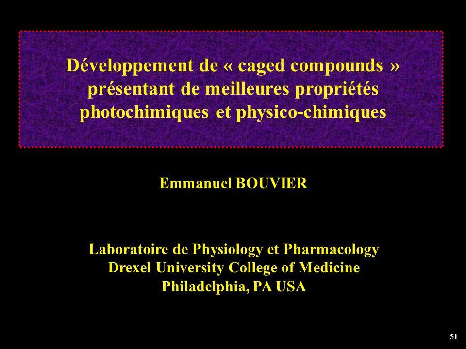 Développement de « caged compounds » présentant de meilleures propriétés photochimiques et physico-chimiques