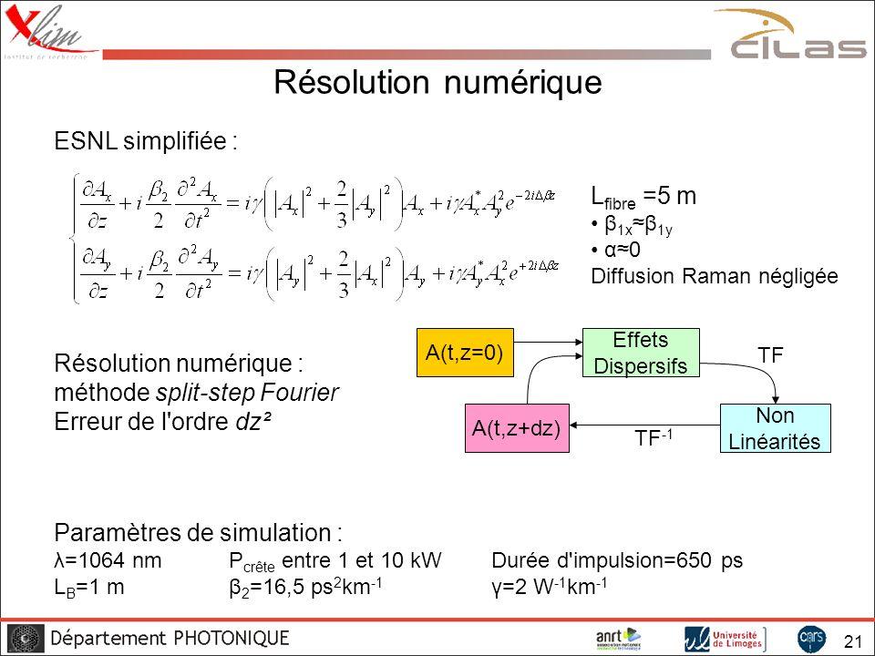 Résolution numérique ESNL simplifiée : Lfibre =5 m