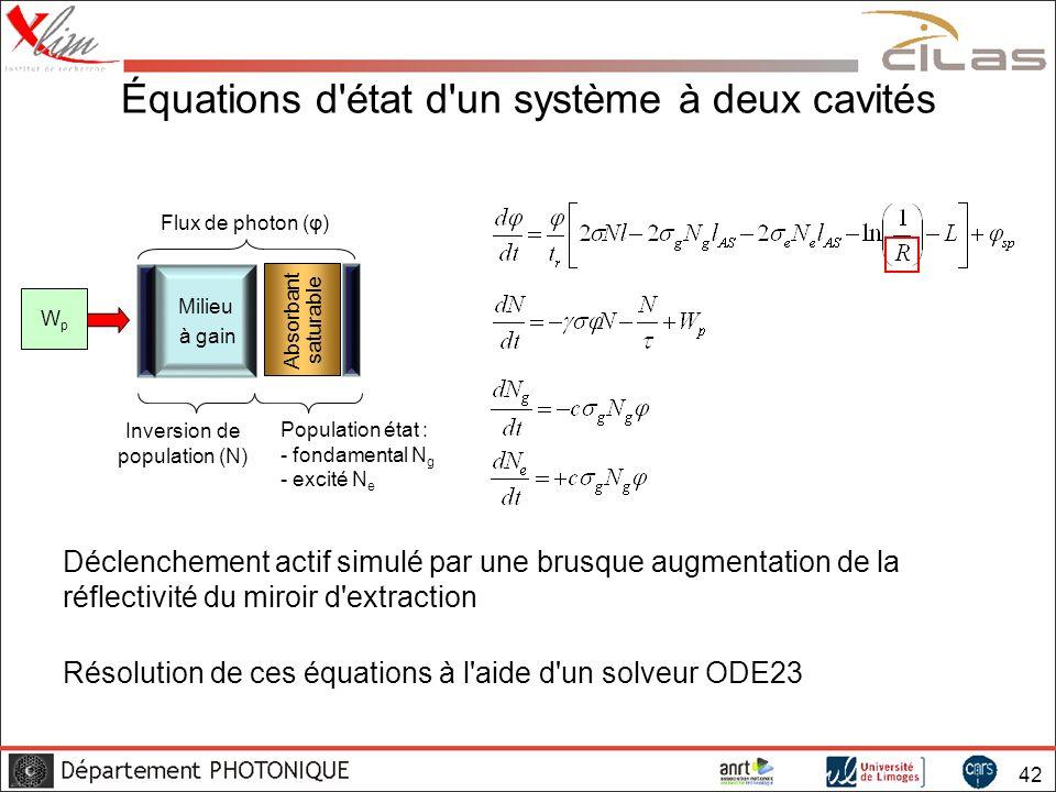 Équations d état d un système à deux cavités