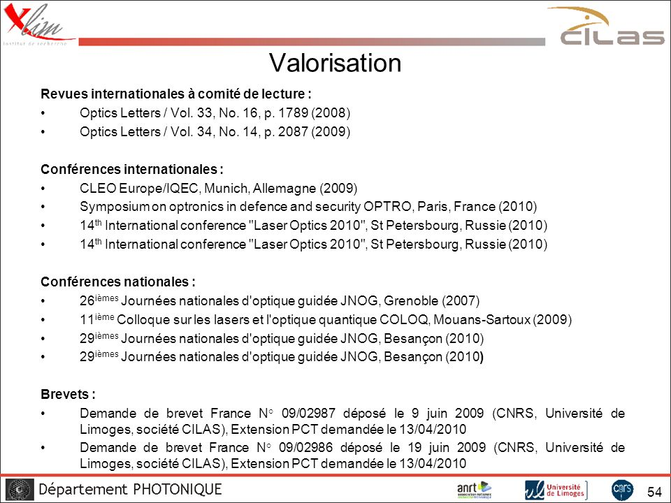 Valorisation Revues internationales à comité de lecture :