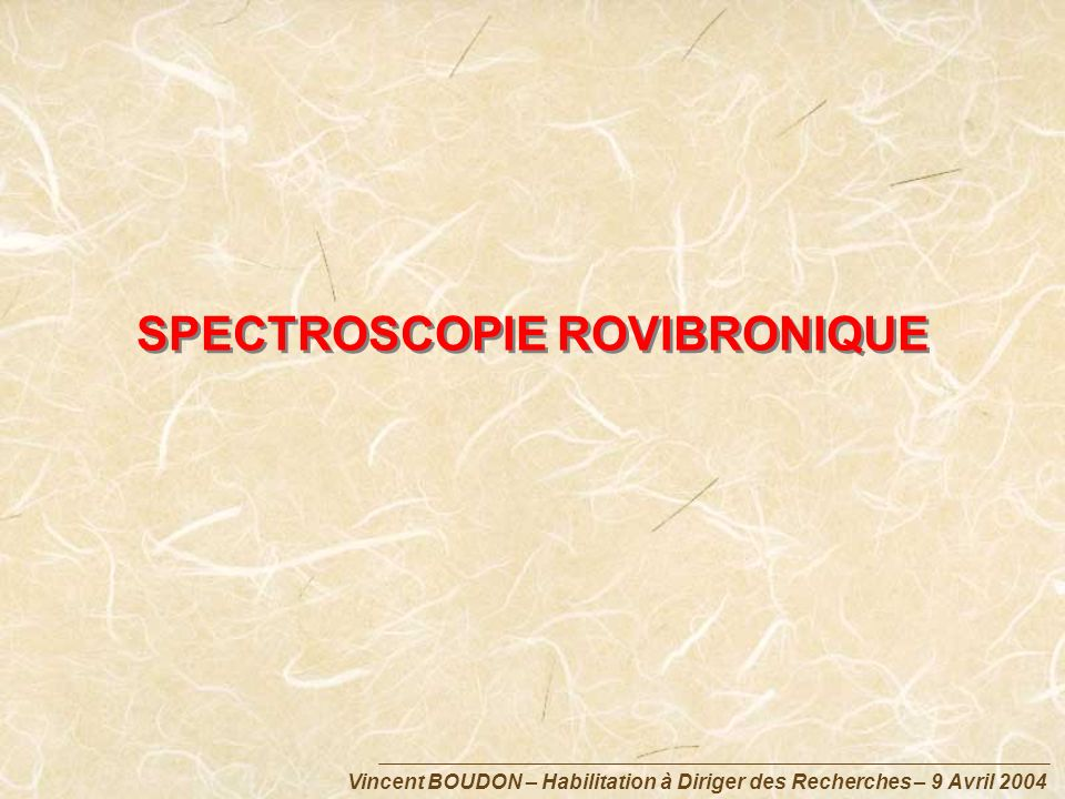 SPECTROSCOPIE ROVIBRONIQUE