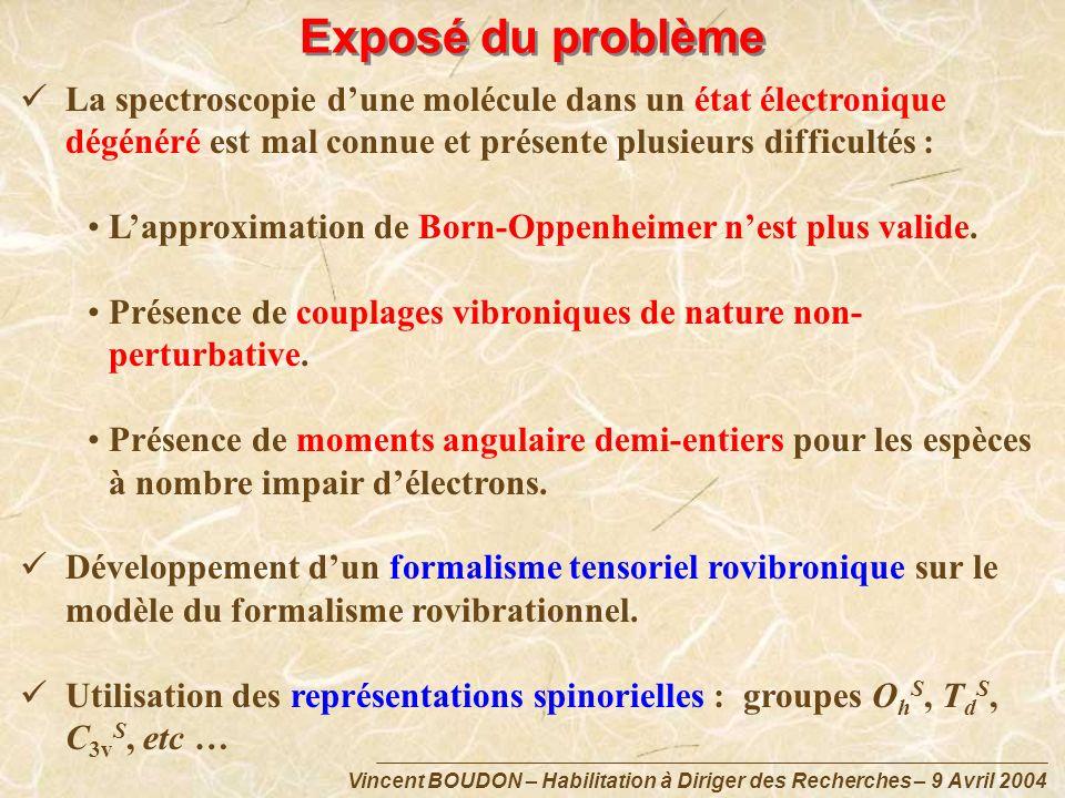 Exposé du problème La spectroscopie d'une molécule dans un état électronique dégénéré est mal connue et présente plusieurs difficultés :