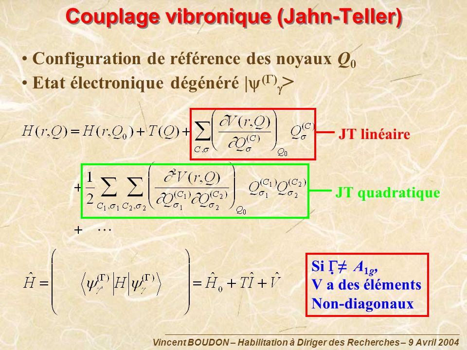 Couplage vibronique (Jahn-Teller)