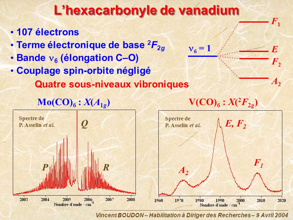 L'hexacarbonyle de vanadium