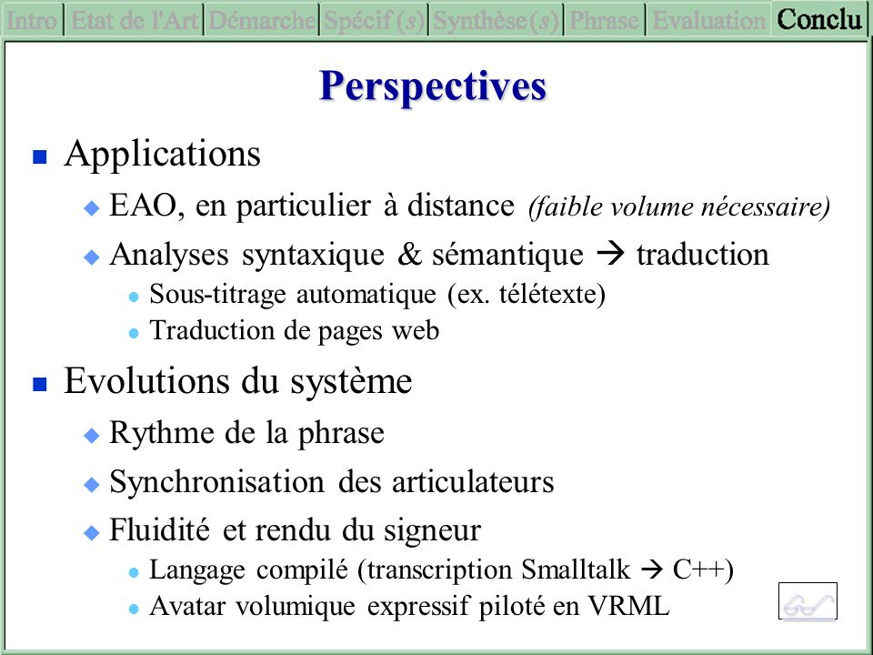 Perspectives Applications Evolutions du système 