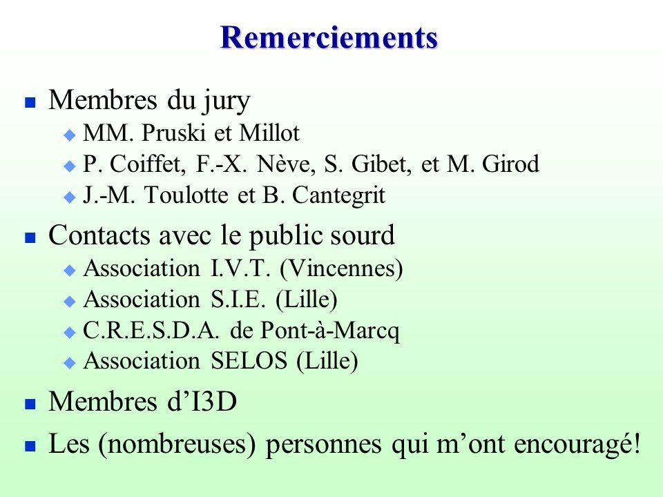 Remerciements Membres du jury Contacts avec le public sourd