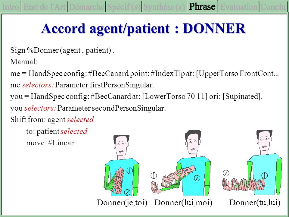 Accord agent/patient : DONNER