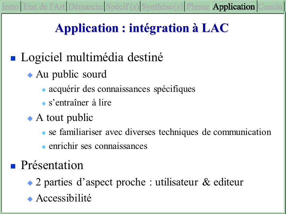 Application : intégration à LAC