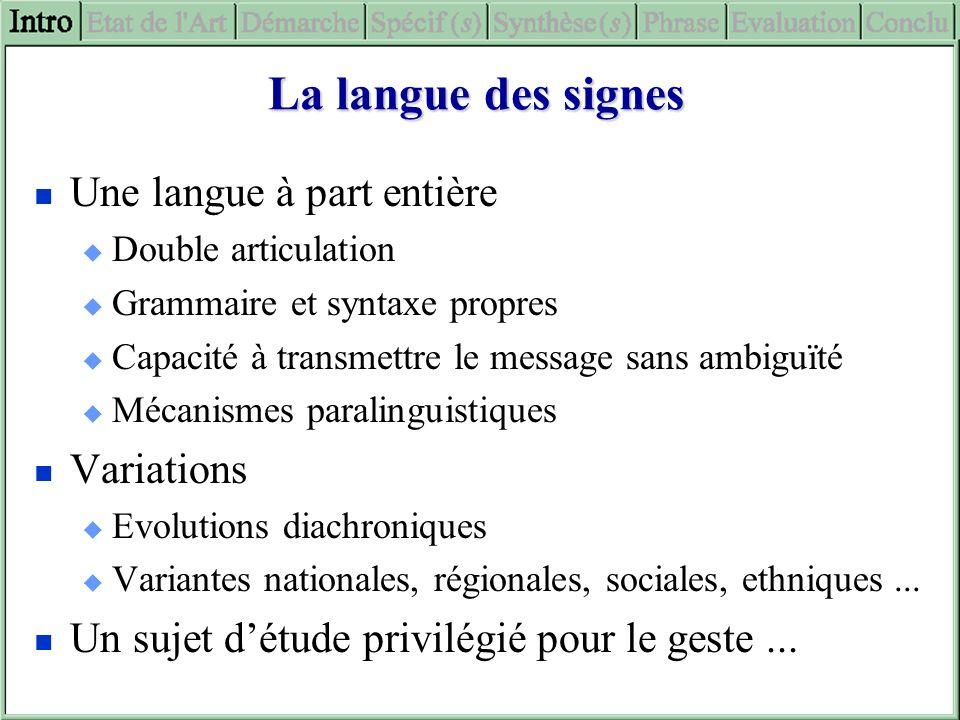 La langue des signes Une langue à part entière Variations