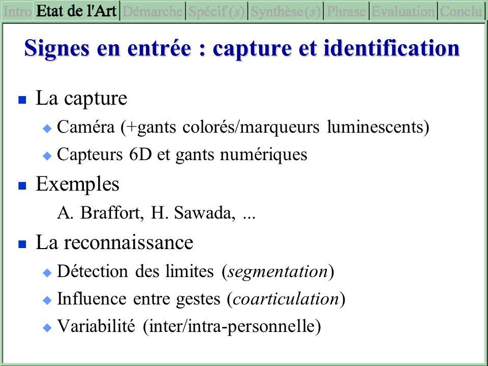 Signes en entrée : capture et identification
