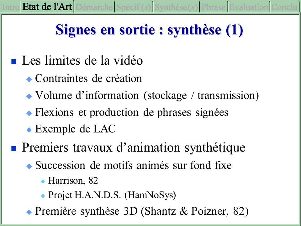 Signes en sortie : synthèse (1)