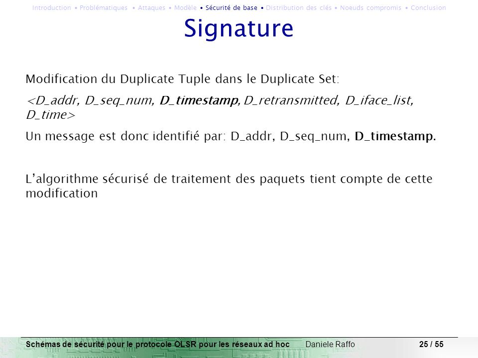 Signature Modification du Duplicate Tuple dans le Duplicate Set:
