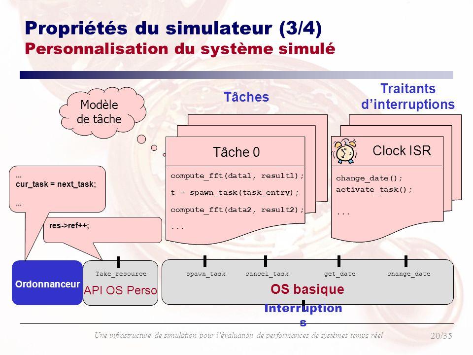 Propriétés du simulateur (3/4) Personnalisation du système simulé