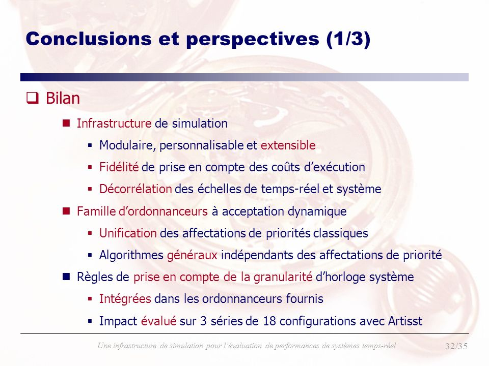 Conclusions et perspectives (1/3)