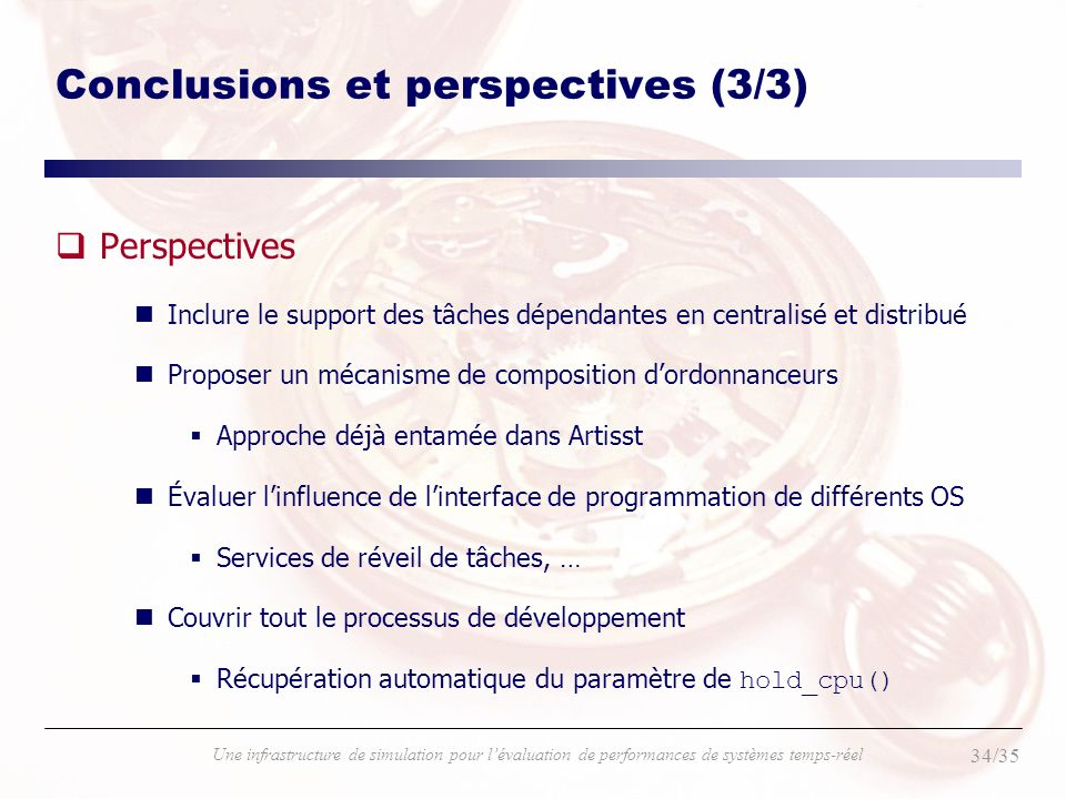 Conclusions et perspectives (3/3)