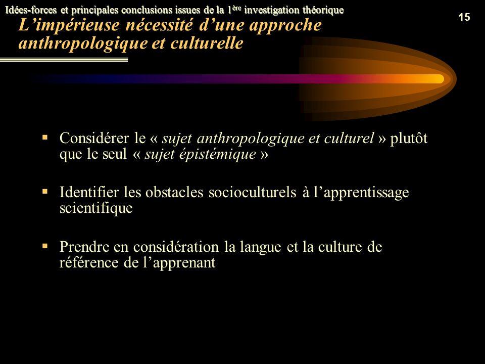 L'impérieuse nécessité d'une approche anthropologique et culturelle