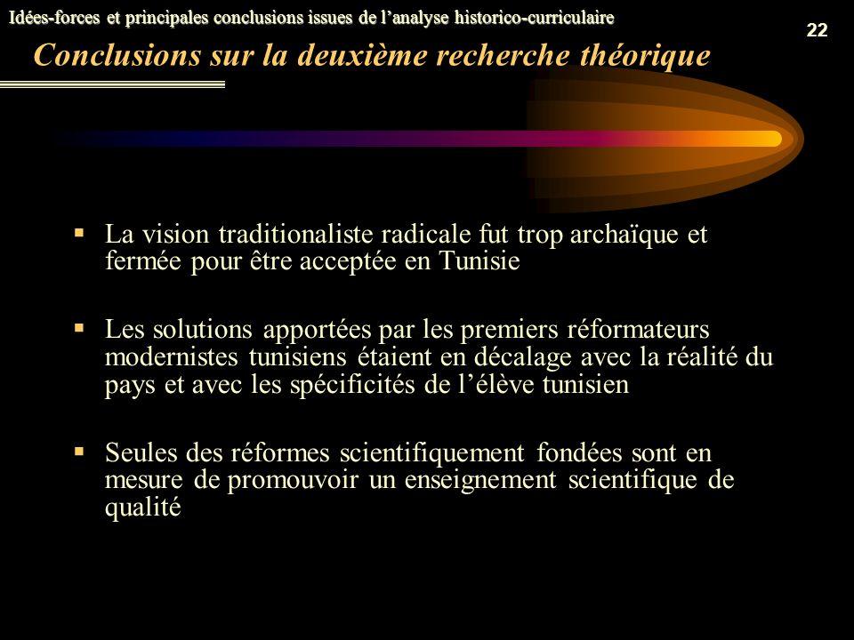 Conclusions sur la deuxième recherche théorique