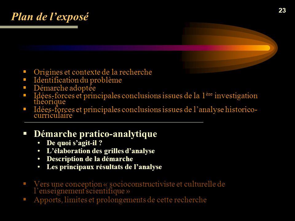 Plan de l'exposé Démarche pratico-analytique
