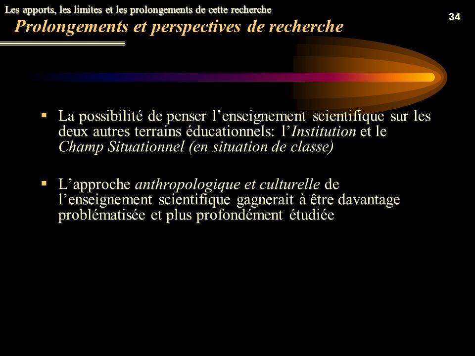 Prolongements et perspectives de recherche