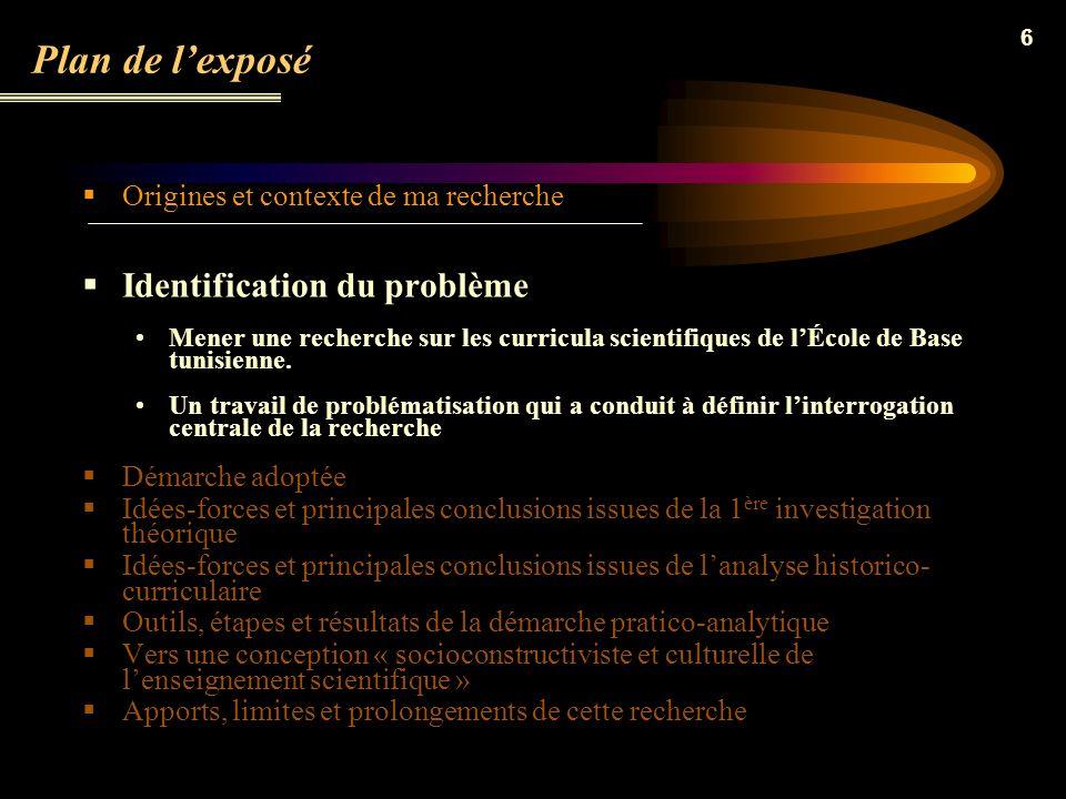 Plan de l'exposé Identification du problème