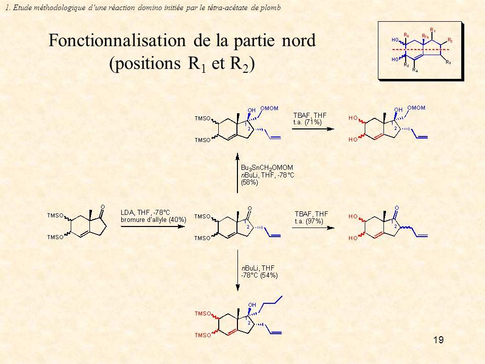 Fonctionnalisation de la partie nord (positions R1 et R2)