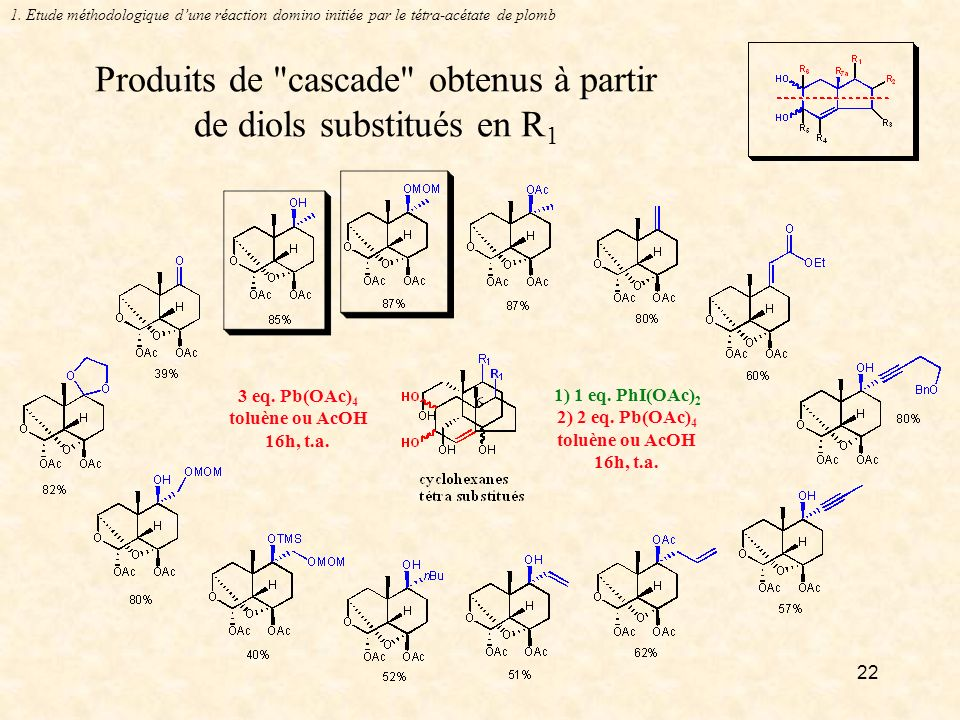 Produits de cascade obtenus à partir de diols substitués en R1