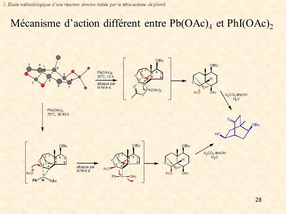 Mécanisme d'action différent entre Pb(OAc)4 et PhI(OAc)2