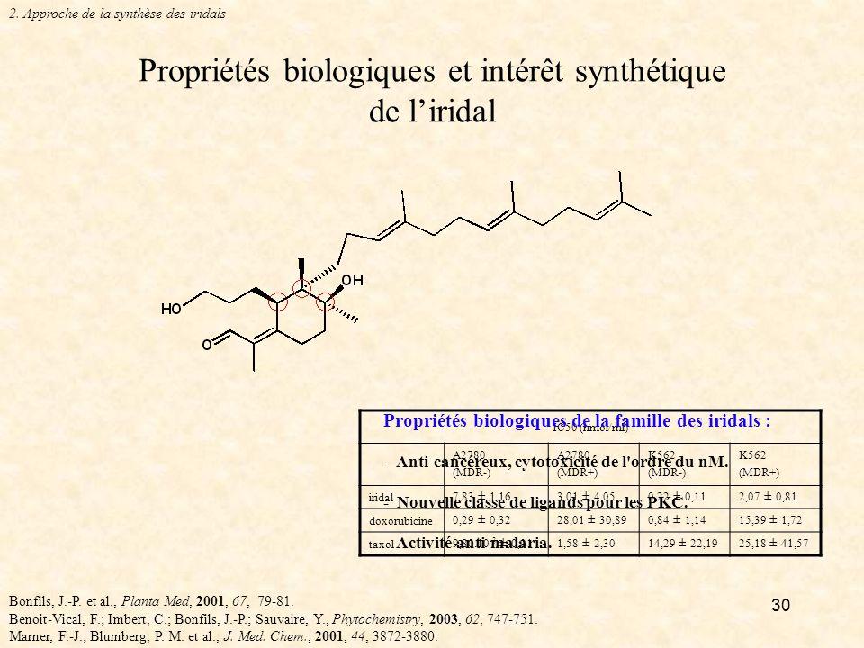 Propriétés biologiques et intérêt synthétique de l'iridal