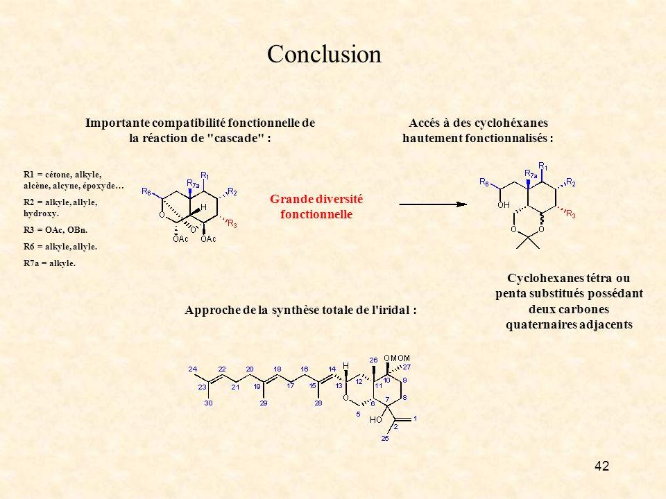 Conclusion Importante compatibilité fonctionnelle de la réaction de cascade : R1 = cétone, alkyle, alcène, alcyne, époxyde…