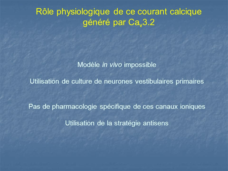 Rôle physiologique de ce courant calcique généré par Cav3.2