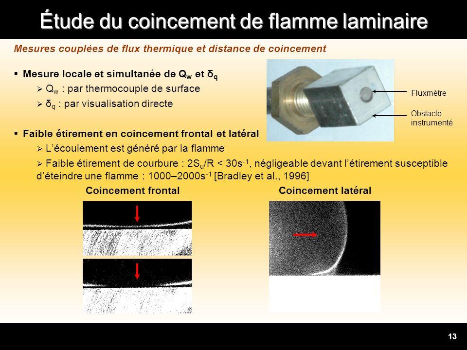 Mesures couplées de flux thermique et distance de coincement