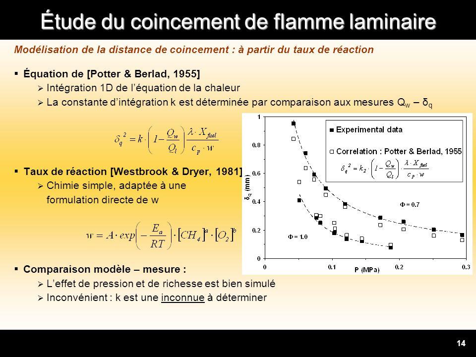 Modélisation de la distance de coincement : à partir du taux de réaction