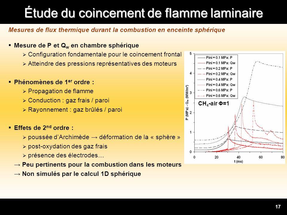 Mesures de flux thermique durant la combustion en enceinte sphérique