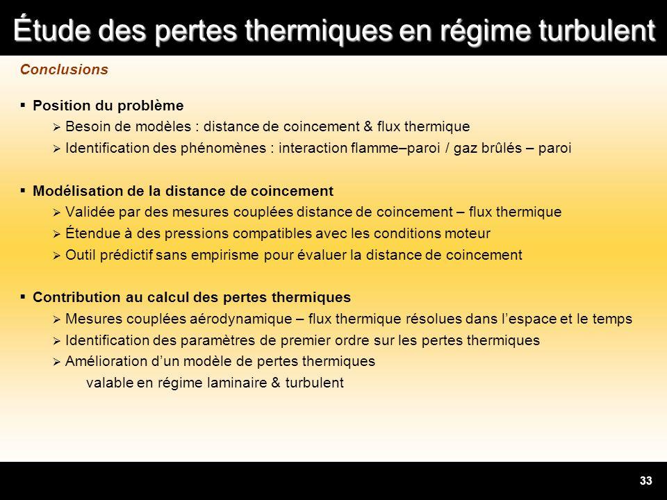 Conclusions Position du problème. Besoin de modèles : distance de coincement & flux thermique.