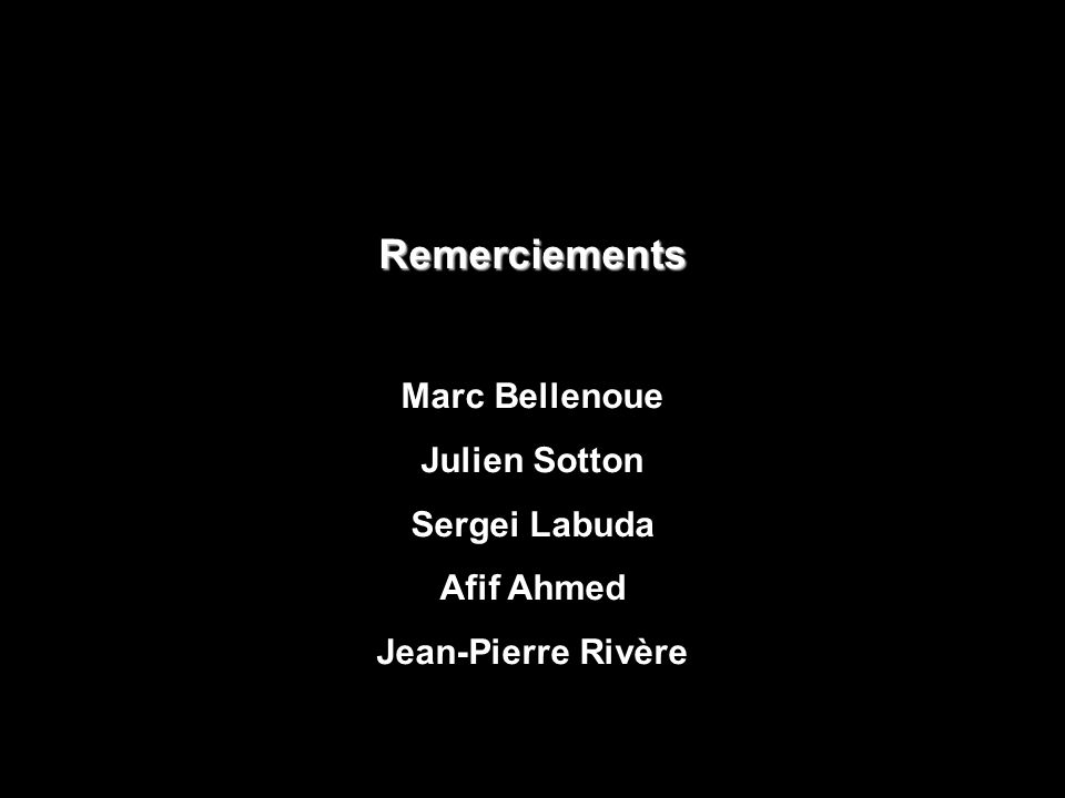 Remerciements Marc Bellenoue Julien Sotton Sergei Labuda Afif Ahmed