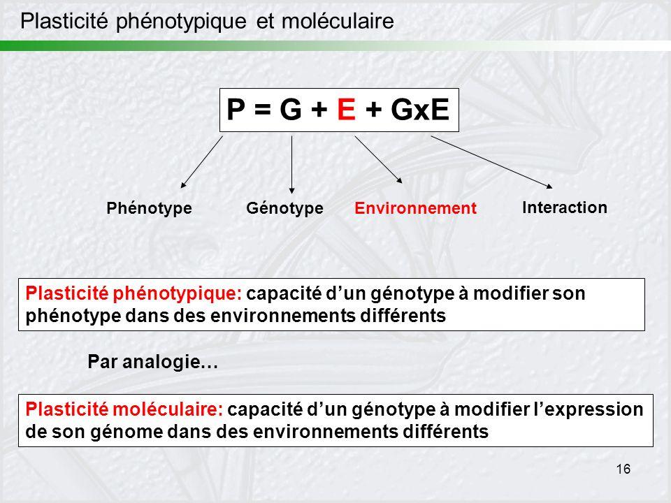 P = G + E + GxE Plasticité phénotypique et moléculaire