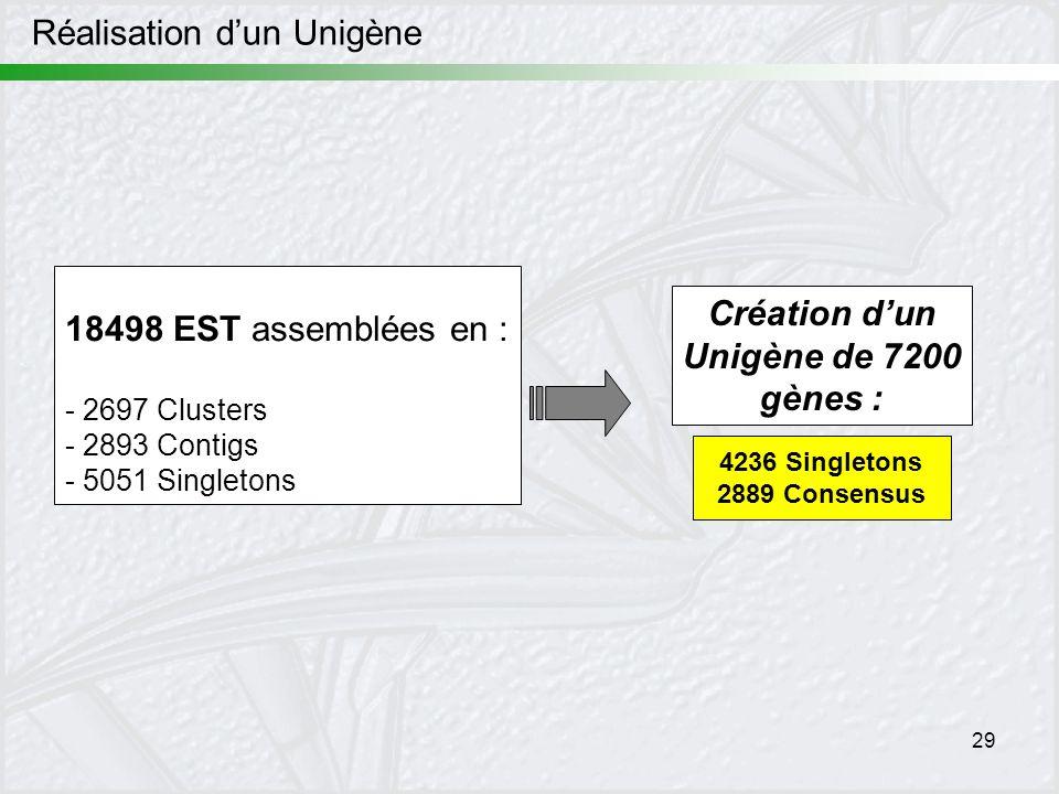 Création d'un Unigène de 7200 gènes :
