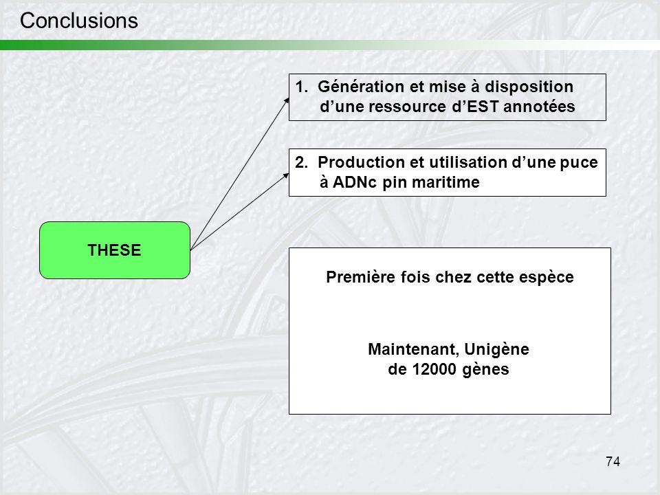 Conclusions 1. Génération et mise à disposition d'une ressource d'EST annotées. 2. Production et utilisation d'une puce à ADNc pin maritime.
