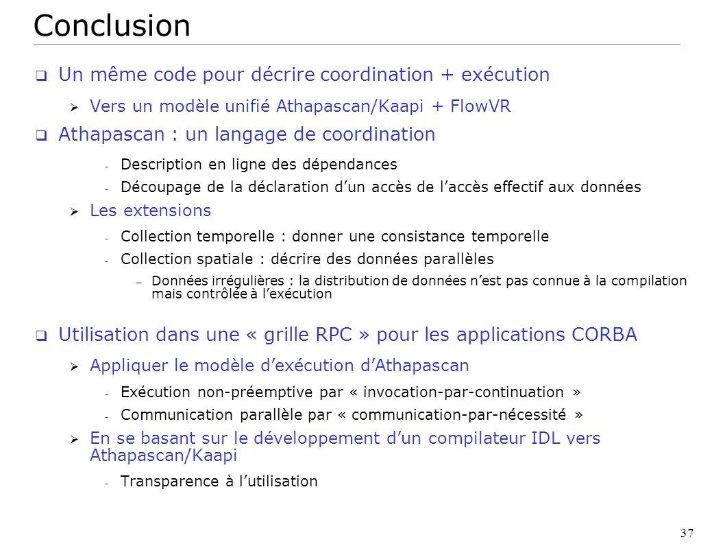 Conclusion Un même code pour décrire coordination + exécution