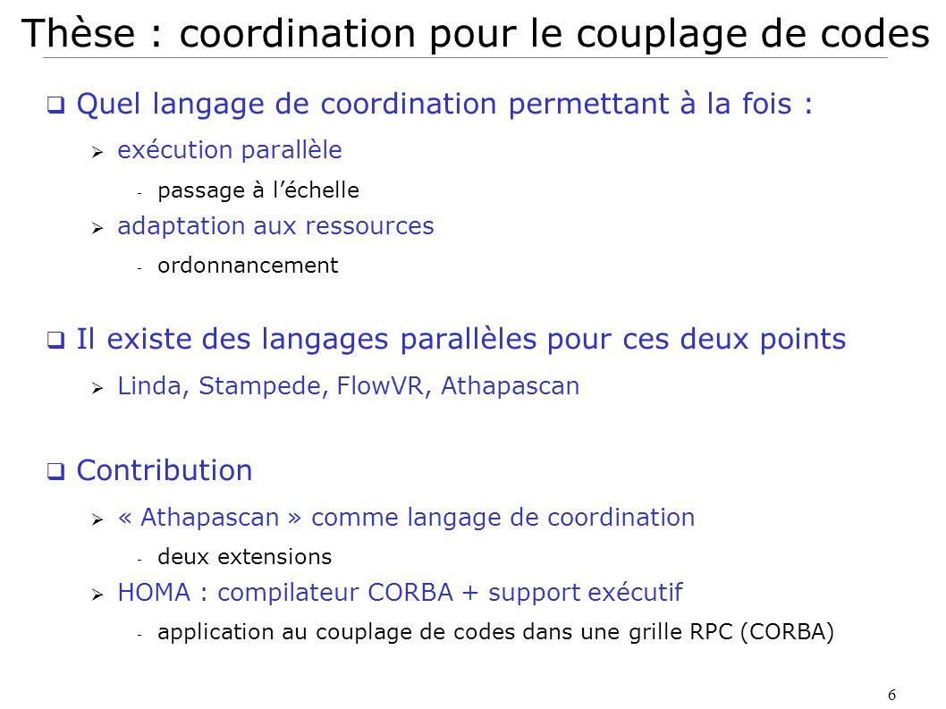 Thèse : coordination pour le couplage de codes