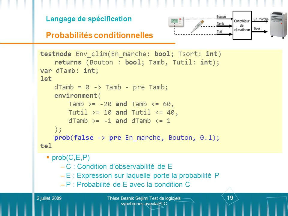 Langage de spécification Probabilités conditionnelles