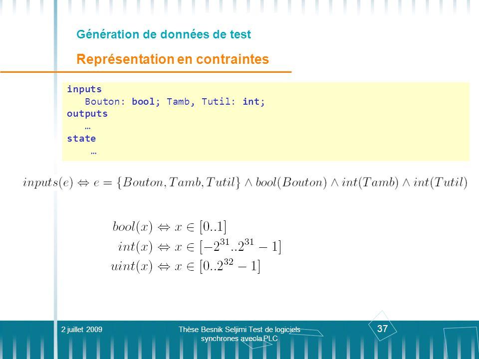 Génération de données de test Représentation en contraintes